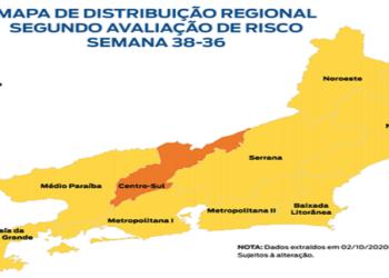 Desde a primeira edição do Mapa de Risco, lançada no dia 8 de julho, nenhuma região estava classificada na Bandeira Vermelha, de risco alto, e apenas o Norte estava em Amarelo. (Mapa- fonte: Agência Brasil)
