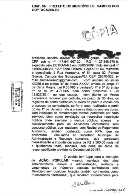 Wladimir Garotinho: Escândalo de RPAs em Campos-RJ